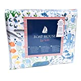 Boat House For Kids Ocean Themed Sheet Set with Jellyfish, Crabs, Seahorses, Orange Fish, Stingray, Narwhal, Sharks, and Whale Print - Marine Life Bubble Sheet Set (Twin)