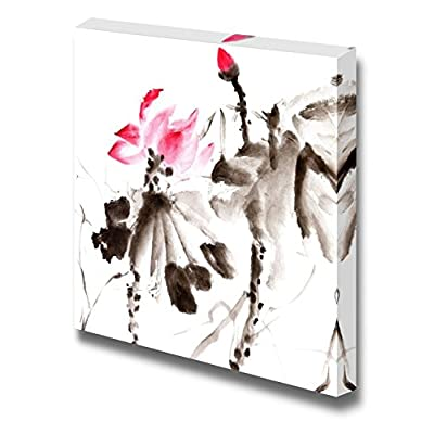 Canvas Prints Wall Art - Lotus, Chinese Traditional Ink Painting Artwork with Color. - 12