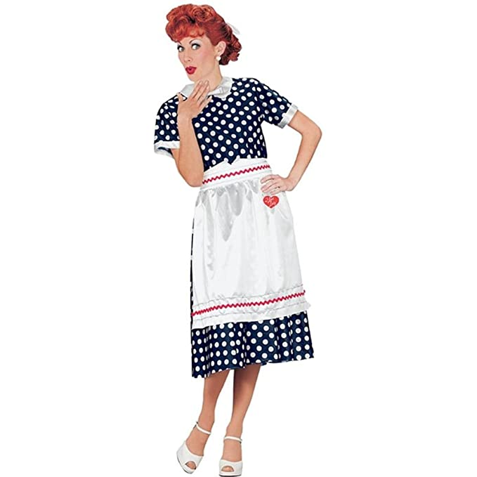 1950s Costumes- Poodle Skirts, Grease, Monroe, Pin Up, I Love Lucy I Love Lucy Polka Dot Dress Small (Small) $24.29 AT vintagedancer.com