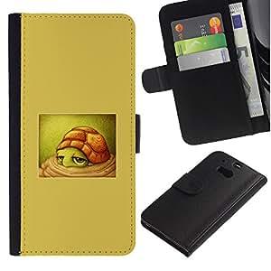 APlus Cases // HTC One M8 // Tortuga lindo Beige niños dibujo niños // Cuero PU Delgado caso Billetera cubierta Shell Armor Funda Case Cover Wallet Credit Card