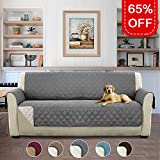 no cover - Reversible Stay in Place Plush Furniture Sofa Protector / Checked Design Slipcovers for Dogs / Cats, No sliding with Straps (75 inch x 110 inch, 3 Seats Sofa - Grey / Beige)