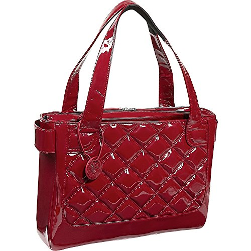Quilted Patent Bag (Fabrique 183248000893 WIB Women's Vanity Scarlet Notebook Tote with Black Lining, Fits Upto 16.1 Computer)