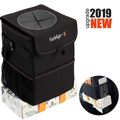Farielyn-X Car Trash Garbage Bag Can - Car Trash Can with Lid and Storage Pockets Leak-Proof Vinyl (Lids Car)