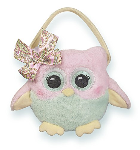 Bearington Hooter Carrysome, Girls Plush Pink Owl Stuffed Animal Purse, Handbag 7 inches