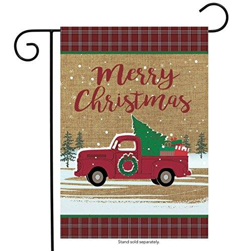 Briarwood Lane Christmas Truck Burlap Garden Flag Holiday 12