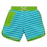 i play. Baby Boys' Striped Pocket Pocket Board Shorts with Built-in Swim Diaper, Aqua Stripe, 12 Months