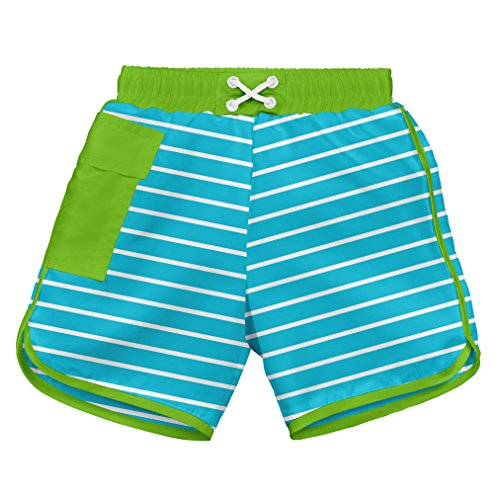 i play. Toddler Boys' Striped Pocket Pocket Board Shorts With Built-In Swim Diaper, Aqua Stripe, - Swim Striped Shorts