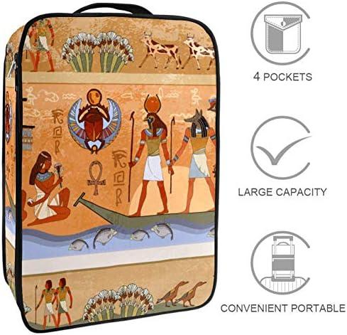 MYSTAGE シューズバッグ 靴箱 シューズケース シューズ袋 古代 エジプト 神話 収納ポーチ 二層式 靴入れ 小物収納 収納ケース アウドドア 出張 旅行