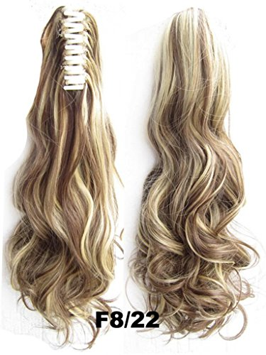 [Beauty Wig World 20inch 50cm 100g Long Wave Curly Ponytail Hairpiece Extension Claw Clip on in Hair Piece - #8H22 medium brown/Light] (Twin Halloween Costumes For Sale)