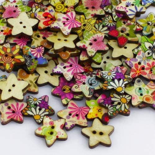 100/pcs vintage pentagramme Imprim/é fleurs en forme d/étoile /à coudre pour v/êtements Boutons en bois Qingsb