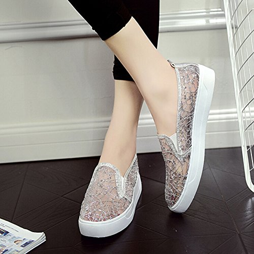 Angelliu Womens Fancy Round Toe Summer Hollow Sequins Mesh Slip On Flats Sandals Silver s9mD4