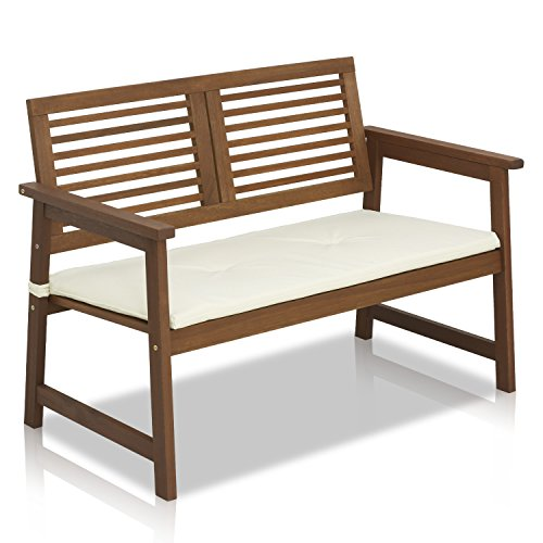 Furinno Tioman Hardwood Outdoor Bench in Teak Oil with White - Hardwood Loveseat