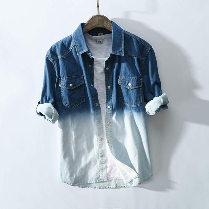 Camisas De Hombre,Primavera De La Moda Y Otoño Hombres Azul Y ...