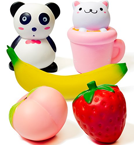 Super Slow Rising 5 pcs Jumbo Squishies Panda Cup Cat Strawberry Peach Banana Scented Stress Relief Kawaii Animal Fruit Squishy Toys Pack For Kids And Adults