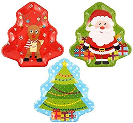 by Home Collection Christmas Melamine Assorted Party Tableware Childrens Party Festive Designs Santa /& Rudolph Treats Tray