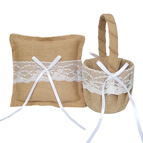 ARKSU Flower Girl Basket 5x8.5 inch and Ring Pillow 7.8x7.8 inch decorated with lace and Satin Row for Rustic Wedding Shower Ceremony Party by ARKSU