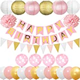 Cebelle Birthday Party Decorations Supplies Favors, Party Pack 52pcs Pink for Girls Gold Happy Birthday Banner, 6 Paper Lanterns, 2 Tissue Pom Poms Flowers, 15pcs Bunting Flags Garlands, 4 Polka-Dot Balloons, 12 Gold Pink White Shiny Latex Balloons,Gifts for Kids Women