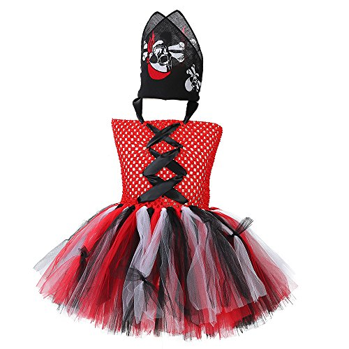 (Tutu Dreams Girls Pirate Costume with Skull Kerchief Halloween Dress)