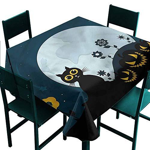 DONEECKL Dust-Proof Tablecloth Halloween Kitty Under Moon Picnic W70 xL70 -
