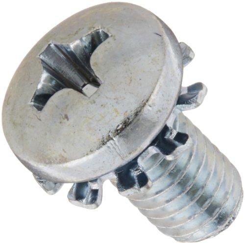 Steel Machine Screw, Zinc Plated Finish, Pan Head, Phillips Drive, Meets ASME B18.13, External-Tooth Lock Washer, 3/8