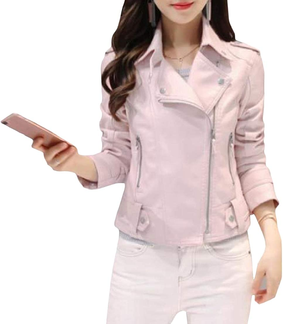 BAYY Womens Mini Skinny Over Sized Pu Leather Lapel Zipper Pocket Jacket Coat