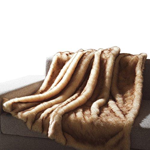 Faux Fur Animal Beige-White-Throw Blanket 50'X60' 100 Percent Acrylic Moment.