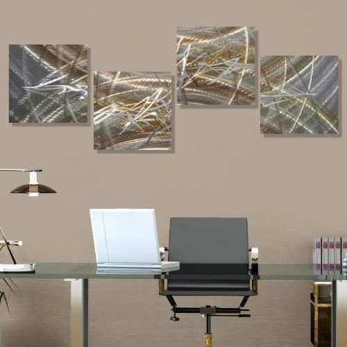 Amazon Com Statements2000 Silver Gold Modern Metal Art Etched Abstract Metal Accent Wall Decor Home Accent Revitalize By Jon Allen 51 X 12 Home Kitchen