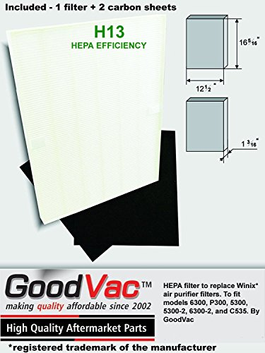 Replacement HEPA filter to fit Winix air purifier models 6300, P300, 5300, 5300-2, 6300-2, C535 Includes 2 activated carbon sheets
