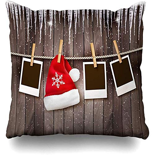 Throw Pillows Covers Cushion Case Natural Brown Wall Christmas Santa Hat Holidays Nature Red Xmas Photograph Cap Blank Black Design Home Decor Pillowcase Square 18 x 18 Inches