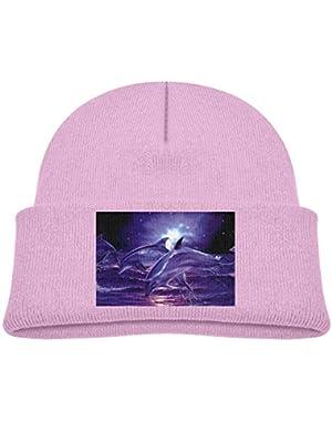 Kids Knitted Beanies Hat Purple Dolphin Winter Hat Knitted Skull Cap for Boys Girls Black