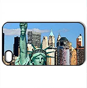 new york statue of liberty - Case Cover for iPhone 4 and 4s (Monuments Series, Watercolor style, Black)