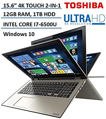 "Toshiba Satellite Radius 2-in-1 5.6"" 4K Ultra HD Touchscreen High Performance Laptop, Intel Core i7-6500U 2.5GHz, 12GB RAM, 1TB HDD, Backlit Keyboard, 802.11AC, Bluetooth, HDMI, Windows 10"