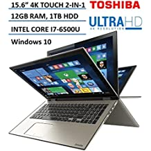 "Toshiba Satellite Radius 2-in-1 5.6"" 4K Ultra HD Touchscreen High Performance Laptop, Intel Core i7-6500U 2.5GHz, 12GB RAM, 1TB HDD, Backlit Keyboard, 802.11AC, Bluetooth, HDMI, Windows 10"