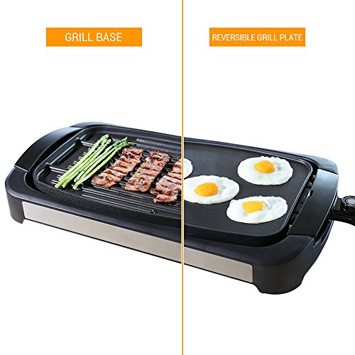 Electric Grill Griddle, Smartlife Smokeless Reversible Grill Griddle Cast-Aluminum Combo- Water-Based Double-Layer Teflon Coating,1700 Watts, Non-Stick FDA Certification For Home Restaurant Party (Reversible Cast Grill Square Griddle)