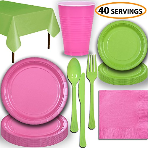 Disposable Party Supplies, Serves 40 - Hot Pink and Lime Green - Large and Small Paper Plates, 12 oz Plastic Cups, heavyweight Cutlery, Napkins, and Tablecloths. Full Two-Tone Tableware Set