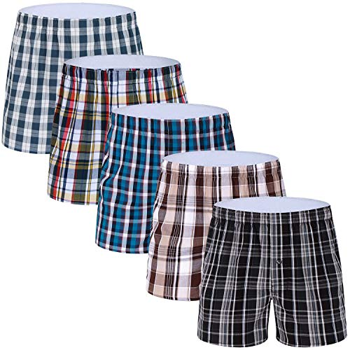 5-Pack Men's Boxer Underwear 100% Cotton Woven Premium Quality Shorts - Underwear Boxer Woven