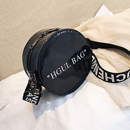 WSLMHH Messenger Bag Dames Sacs à Main Sac Rond Mode Sauvage Large Bande épaule Messenger Bag Noir