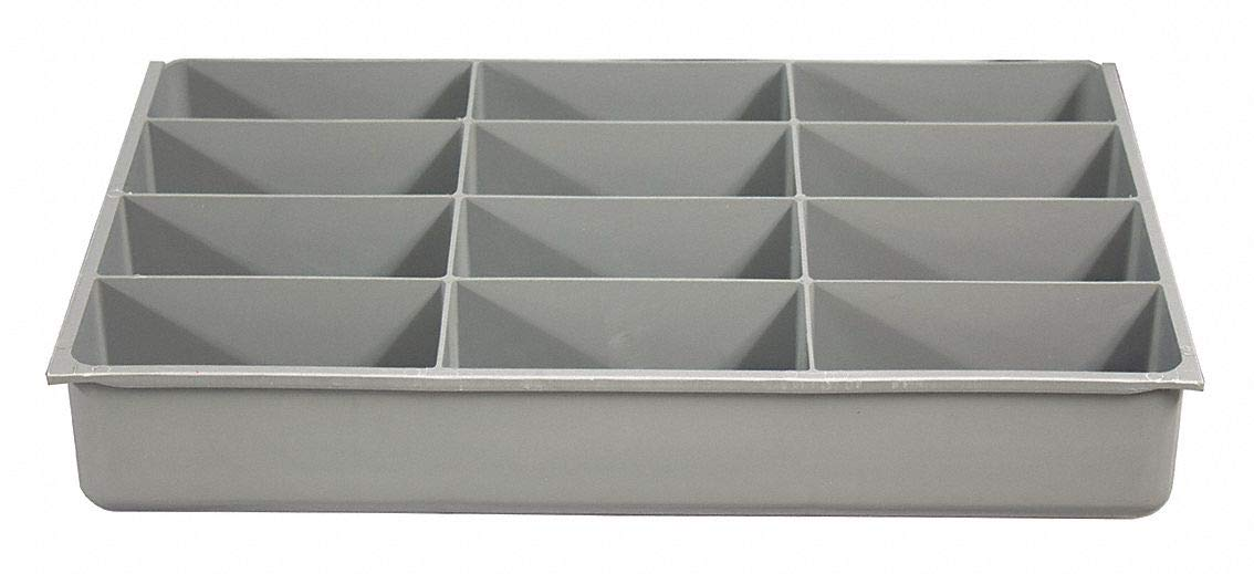 Plastic Compartment Drawer Insert, Compartments per Drawer: 12, Removable Dividers: No, Gray- Pack of 5