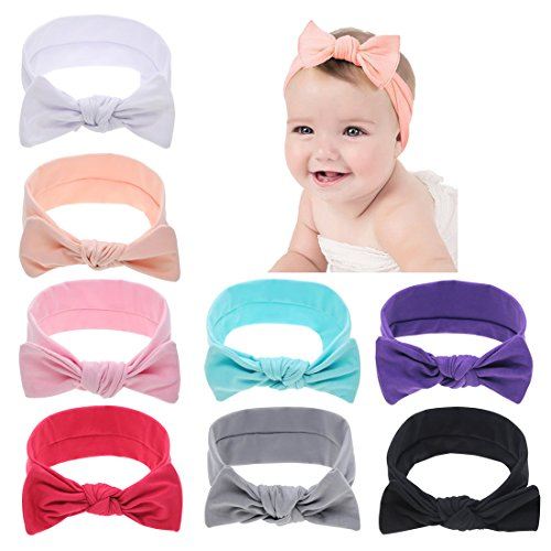 inSowni Boutique Solid Stretch Bow Ear Headband Set for Baby Girl Kids Newborns Infants ()