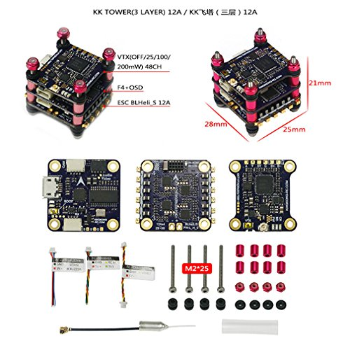 LDARC KK Tower F4+OSD Flight Controller +12A/20A BLHELI-S 4in1 ESC + VTX Image Transmission (3 Layer) (12A)