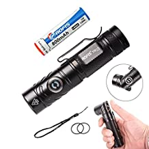 Rofis TR15 700 Lumens CREE XP-L HI V3 LED Adjustable-head Flashlight with 14500 Battery