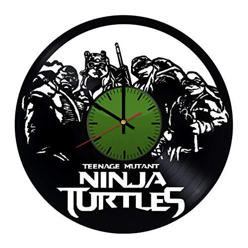 Teenage Mutant Ninja Turtles TMNT Cartoon Vinyl Record Wall Clock - Contemporary and Creative Bedroom Wall Decor - Modern Fan Art - Best Gift Idea for Boys and Girls