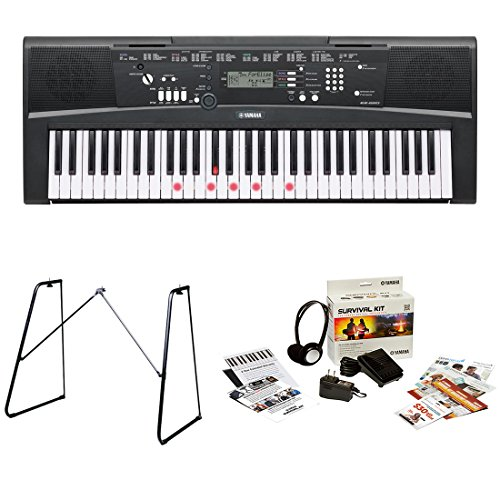 Yamaha EZ220 61 Lighted Key Portable Keyboard Bundle with Ya