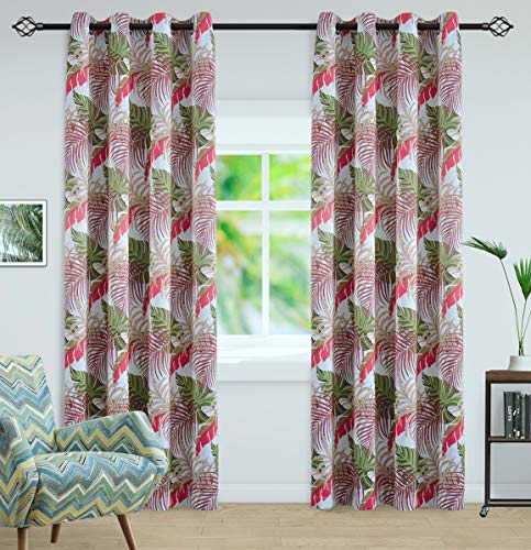 Tropical amorous feelings Printed Design Room Darkening Blackout Curtain Panels with Antique Grommet Top, 2 Panels with 2 Tiebacks, W52 x L63 inch,RED