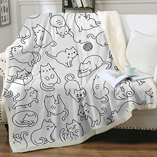 Sleepwish Cat Blankets and Throws Sherpa Throw Blanket Super Soft Reversible Ultra Luxurious Plush Blanket Pet Fleece Bed Sofa Blanket Cat Gifts for Her Him,White,Throw