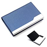 Rerii Business Card Holder Leather Surface Stainless Steel Business Card Case Name Card Holder (H - Blue)