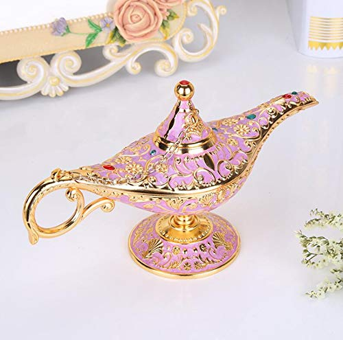 Yujiayi Magic Aladdin Lamp Decoration Wishing Oil Lamp Fairy Tale Aladdin Magic Genie Teapot Oil Lamp for Home Table Decoration(Pink)