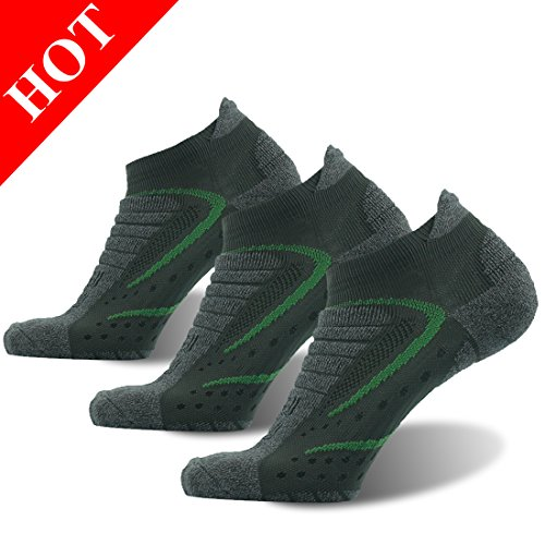 Men Padded Low Cut Quarter Outdoor Socks Hiking/Camping/Walking/Running Performance Quick Wicking Dri-fit Facool 3 Pairs Dark Green&Grey