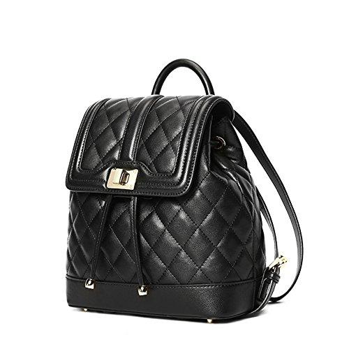 Nueva señora Chao cuero bolsa mochila de cuero suave de rombo, minimalista,Negro trompeta Negro Trompeta