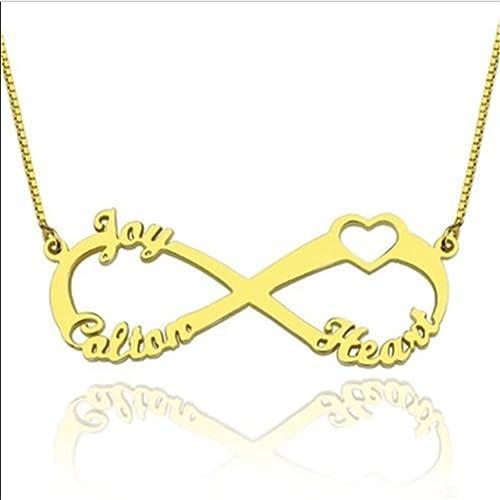 18b8c51308c7 Collar Personalizado Tres Nombres Grabado Infinito Colgante Collar Hecho de  Plata de Ley 925 para triplete